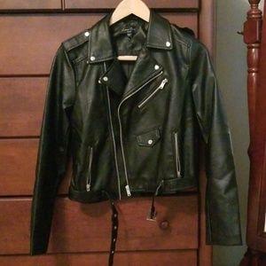 Faux black leather jacket.